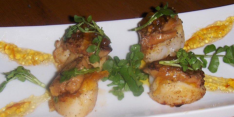 grand marnier scallops appetizer with fois gras