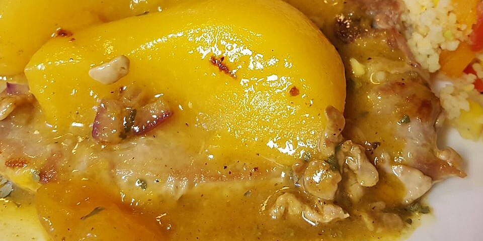peach curry glazed pork chops recipe