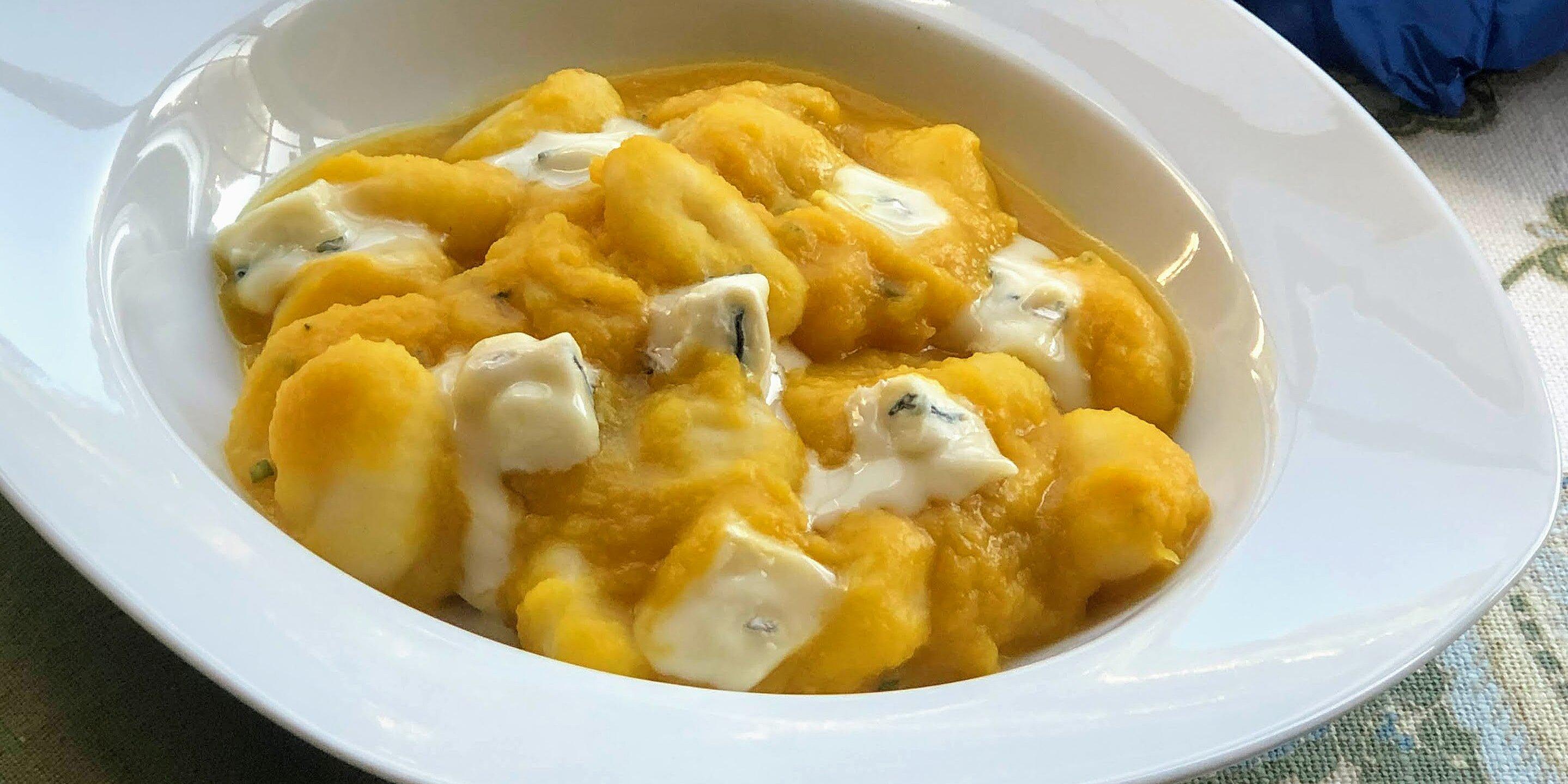 gnocchi with cream of acorn squash and borgonzola cheese