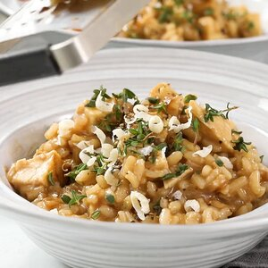 Roasted Chicken with Risotto and Caramelized Onions