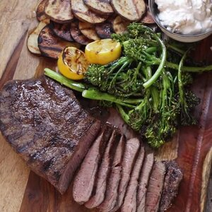 Grilled Steak with Blue Cheese, Potatoes, and Broccolini