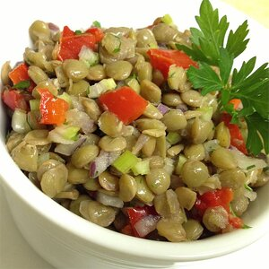 Mediterranean Style Roasted Red Pepper and Lentil Salad