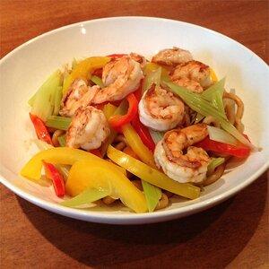 Prawns and Vegetables Over Pan-Fried Udon Noodles
