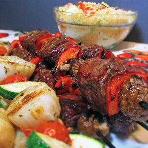 Sea-and-Shore Bison Kabobs with Mediterranean Couscous Salad