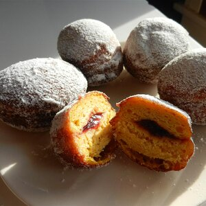 Pumpkin Sufganiot with Cranberry Jelly