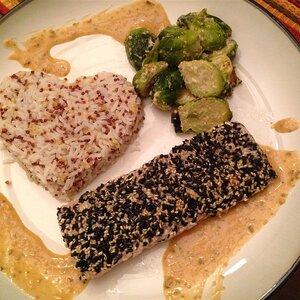 Sesame Crusted Mahi Mahi with Soy Shiso Ginger Butter Sauce