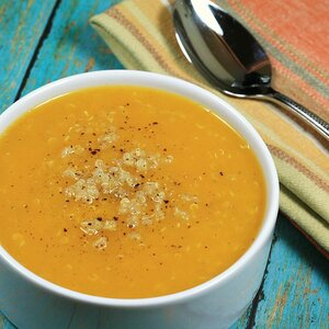 Creamy Butternut Squash Soup with Fresh Ginger and Quinoa