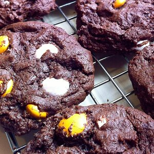Chocolate Candy-Brownie Cookies