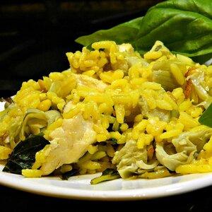 Warm Rice, Artichoke, Spinach, and Chicken Salad