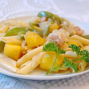 Chicken and Pasta in a Mango Cream Sauce