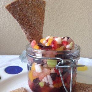 Rainbow Fruit Salsa with Whole Wheat Cinnamon Chips