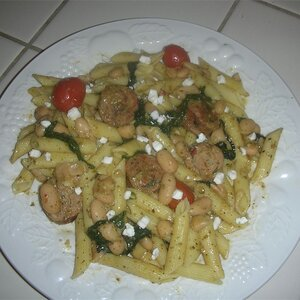 Penne with Spicy Chicken Sausage, Beans, and Greens