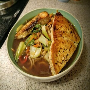 Swordfish over Ginger Hot and Sour Soba Soup