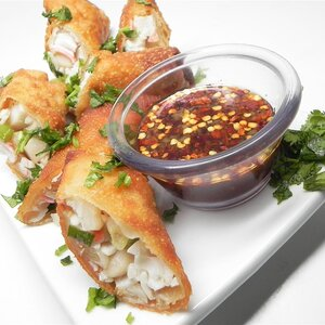 Crab-Filled Egg Rolls With Ginger-Lime Dipping Sauce