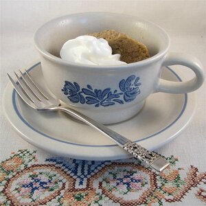 Healthy Rhubarb Cake in a Mug
