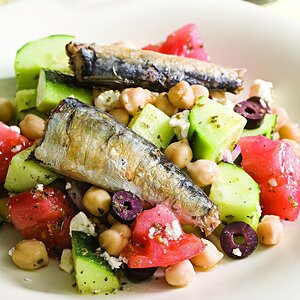 Greek Salad with Sardines
