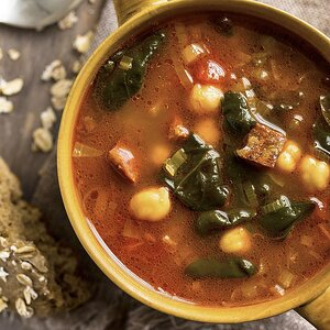 Chickpea, Chorizo & Spinach Soup