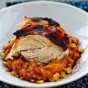 Aztec Chicken with Sweet Potato-Corn Mash