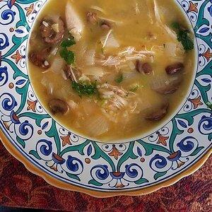 Lemony Mushroom-Chicken Soup with Rice