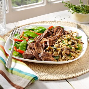 Beef with Spring Vegetables and Mushroom-Asparagus Rice