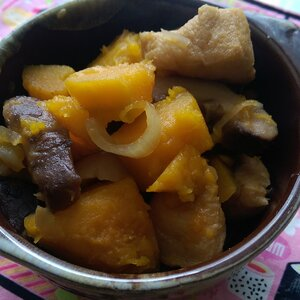 Simmered Kabocha Pumpkin and Fried Tofu with Sweet Soy Sauce
