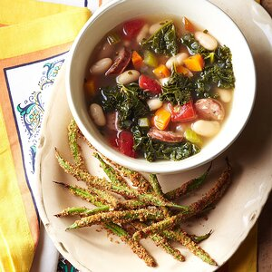 Tuscan Chicken, Bean, and Kale Soup with Crispy Haricot Verts