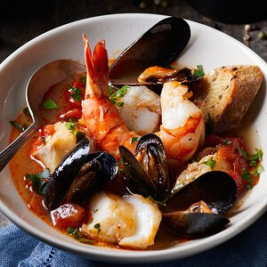 Fisherman's Stew with Roasted Garlic Crostini