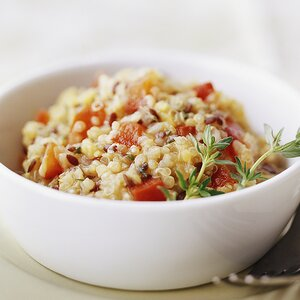Red Lentil, Quinoa, and Flaxseed Pilaf