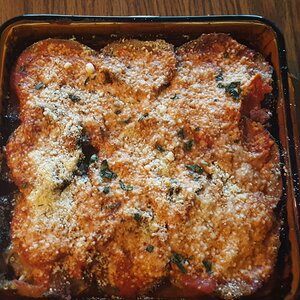 Eggplant Parmesan with Fresh Basil and Smoked Mozzarella