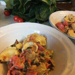 Cheese Tortellini with Italian Sausage and Mushroom-Spinach Cream Sauce