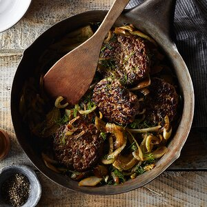 Hand-Chopped Steak Burgers with Caramelized Fennel