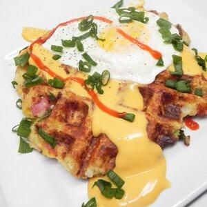 Ham and Cheese Cauliflower Waffle