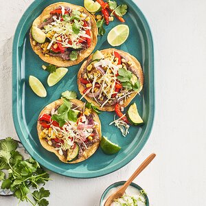 Charred Vegetable & Bean Tostadas with Lime Crema