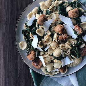 Orecchiette with Spinach and Turkey Meatballs