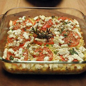 Squash with Tomato and Feta Cheese