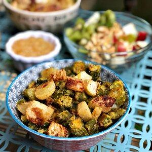 Okra and Kohlrabi Vegan Breakfast Hash