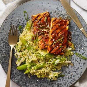 Grilled Tofu with Korean BBQ Glaze & Stir-Fried Napa Cabbage
