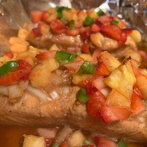 Grilled Hawaiian Salmon with Strawberry Pineapple Salsa
