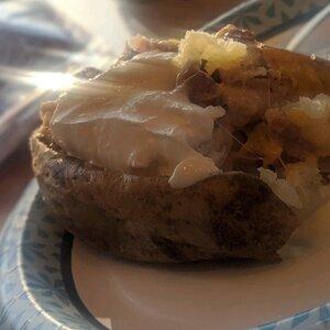 Chicken-Bacon-Ranch-Stuffed Baked Potatoes