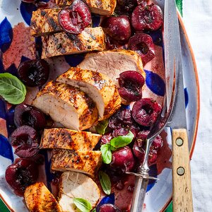 Grilled Pork Tenderloin with Cherries