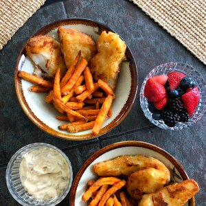 Air Fryer Fish and Sweet Potato Chips