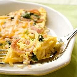 Ramen Frittata with Ham and Cheese