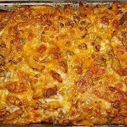 Cazuela de pasta con pollo y chorizo
