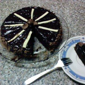 Pastel de chocolate y queso crema