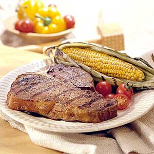 Peppery T-Bones and Chili Corn