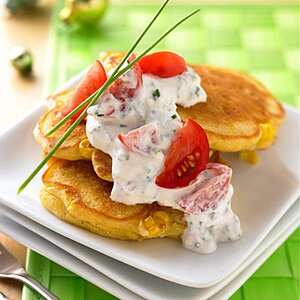 Smoked Corn Cakes with Tomato and Sour Cream Sauce