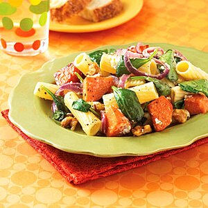 Rigatoni with Spinach, Walnuts, Sweet Potatoes and Goat Cheese