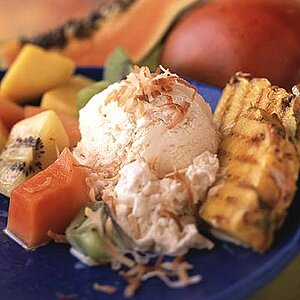 Grilled Pineapple Skewers with Toasted Coconut Ice Cream