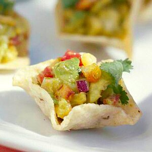 Charred Corn Guacamole with Tortilla Crisps