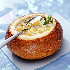 Potato and Roasted Corn Chowder in Bread Bowls